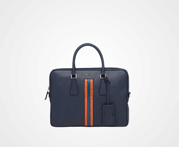 947af83e66a0 Saffiano leather work bag Prada BALTIC BLUE 3 ...