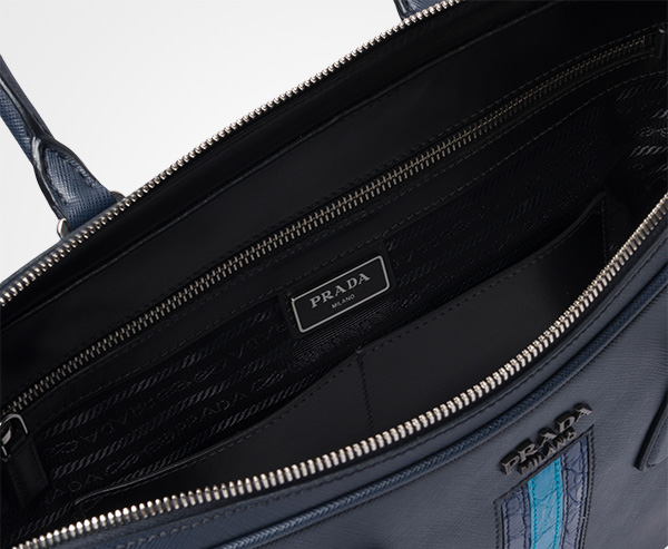 ea1b5e34162f1 ... Saffiano leather work bag Prada BALTIC BLUE BRIGHT BLUE