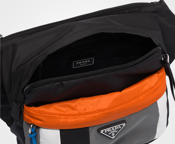 0b53d46295bb ... Printed technical fabric bandoleer bag Prada BLACK SLATE GRAY