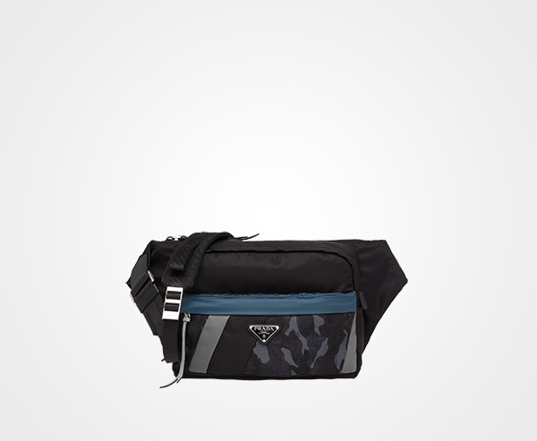 271d20a2bdd7 Printed technical fabric bandoleer bag Prada CAMOUFLAGE BLUE SLATE GRAY ...