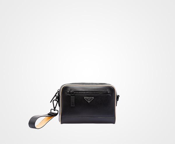 Saffiano leather shoulder bag Prada BLACK PLATINUM ... d75097c7e40f2