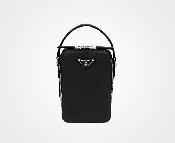 a2e2049dae Saffiano leather bandoleer bag Prada BLACK ...