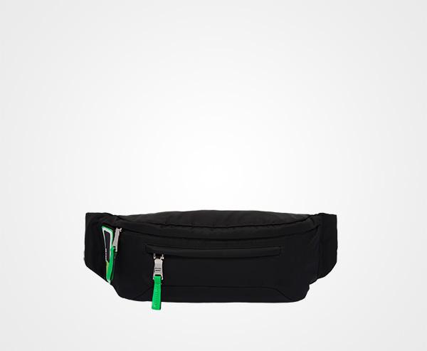 f191cb850d0e83 Technical fabric belt bag Prada Black/Fluo Green ...