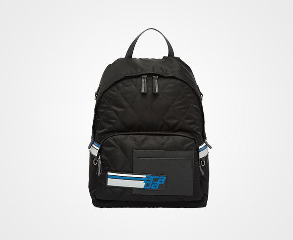 029e73093b7415 Technical fabric and nylon backpack Prada BLACK/LIGHT BLUE ...