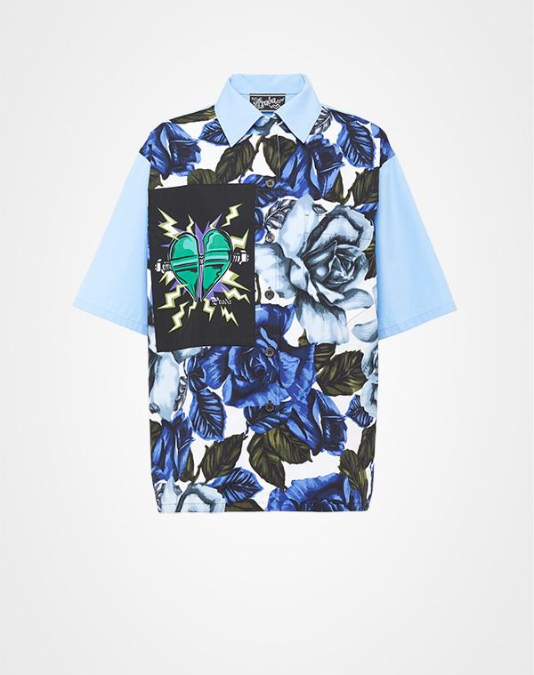 d928124d55185 Printed poplin blouse Prada COBALT BLUE+LIGHT BLUE ...