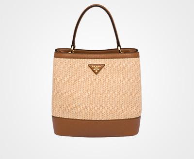 6959efb77d2b Prada Panier medium straw bag BEIGE COGNAC Prada