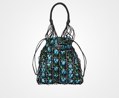 Printed fabric and mesh bag Black Tulips print Prada 2adf630de343e