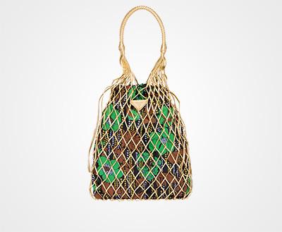 Printed fabric and mesh bag GOLD FLOWER 2 PRINT Prada 6132b2d0cca08