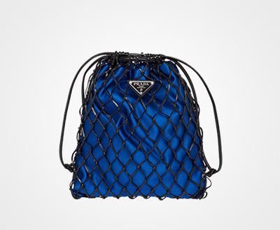 Mesh and satin clutch BLACK BRIGHT BLUE Prada c06b0d55e7217