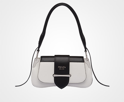 d2b0283ff490fd ... usa prada sidonie leather shoulder bag white black prada a4ab3 9f40d