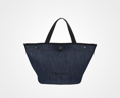 054531bb108f Small denim and leather tote bag BLUE BLACK Prada
