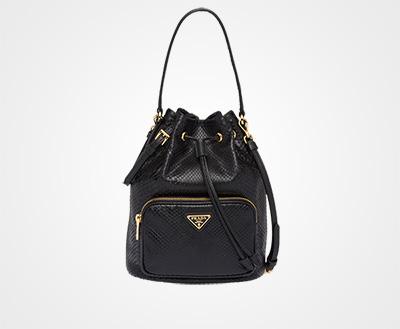 75d532b71283 Python and Saffiano leather bucket bag BLACK Prada
