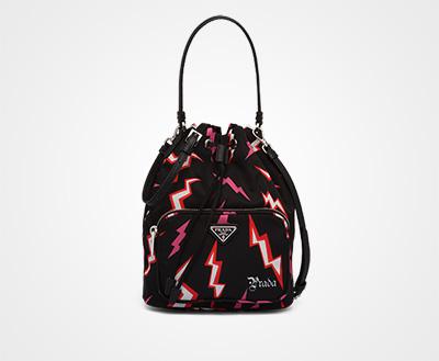 65e0173224 Printed nylon shoulder bag LACQUER RED Prada