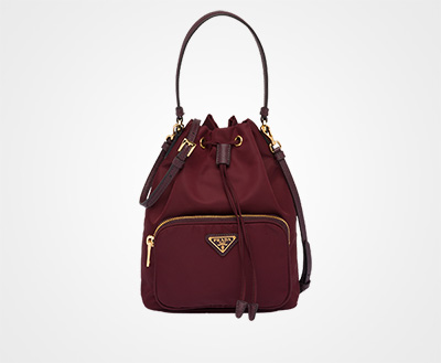 41b0cbe6e8e2 Fabric Shoulder Bag BURGUNDY Prada