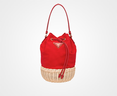20d4a2ad4f Wicker and canvas shoulder bag TAN RED Prada