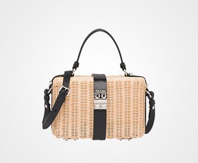 bcbabe73ce93 Wicker and leather shoulder bag TAN BLACK Prada