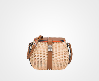 251a6fb8443f Wicker and leather shoulder bag BEIGE COGNAC Prada