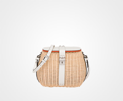 8892a6a741df Wicker and leather shoulder bag TAN WHITE Prada