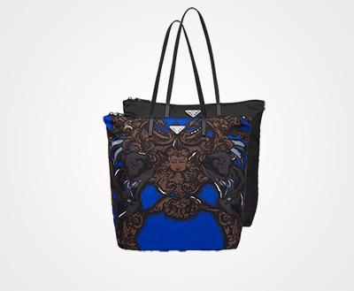 84327fb44d11 Prada Twin Bag in nylon BLACK INDIGO BLUE Prada