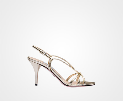 2a593373810 Metallic leather sandals PYRITE Prada