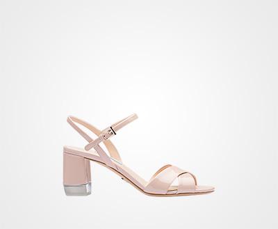 fe9e120ac9fc Patent leather strap sandals POWDER PINK Prada