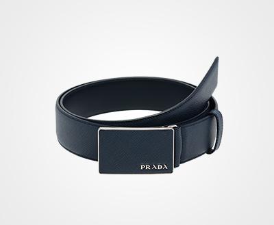 4ec1892b9e22b Leather belt with flat buckle