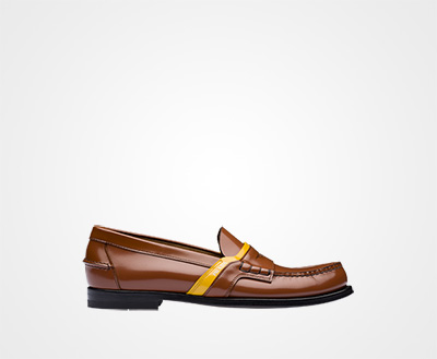 0981c48356ad Leather logo loafers TOBACCO SUN Prada