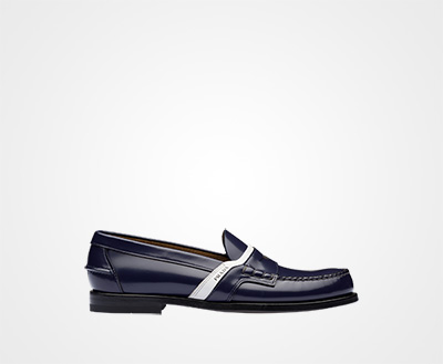 d1288e609dca Leather logo loafers ULTRAMARINE   WHITE Prada