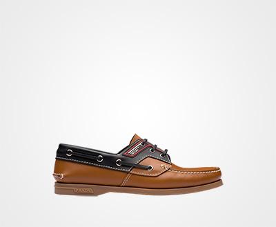 9bb548e871e0f Brushed leather boat shoes TAN BLACK Prada