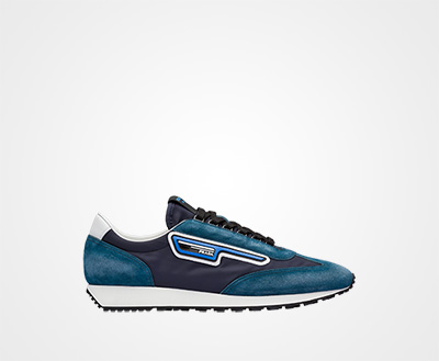 a73ac9304f85b Suede and nylon sneakers NAVY Prada
