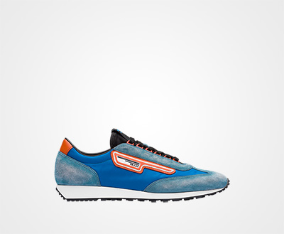 3bc57ca2b32 Suede and nylon sneakers AVIATOR BLUE Prada