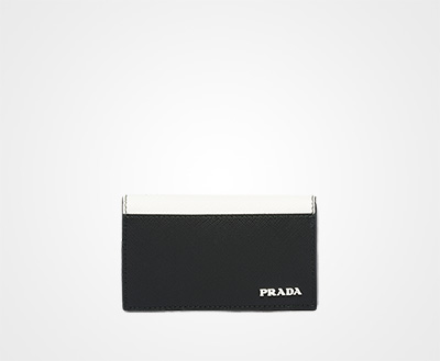 10be5c332cd5 Saffiano leather card holder BLACK/WHITE Prada