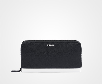 dceec0a0d1 Saffiano leather document holder BLACK/WHITE Prada