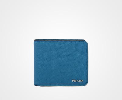 bf9e6ebb1cdf2c Saffiano Cuir leather wallet COBALT BLUE Prada