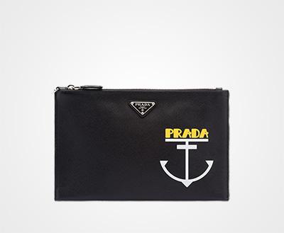 541927e74722 Printed Saffiano leather pouch BLACK WHITE Prada