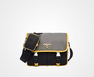 f758dcd02053 Nylon and Saffiano leather shoulder bag BLACK/SLATE GRAY/SUNNY YELLOW Prada