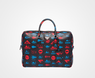 Printed Saffiano leather briefcase LACQUER RED Prada 2aaf84c7f34a5