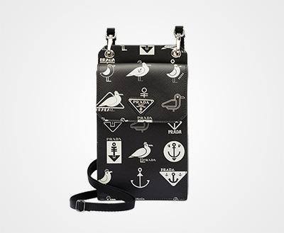 Saffiano leather cellphone case BLACK Prada 54849b0931f