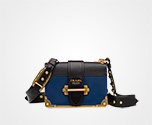 Prada Cahier leather bag CORNFLOWER BLUE+BLACK Prada