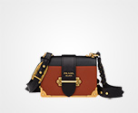 Prada Cahier leather bag TERRACOTTA+BLACK Prada
