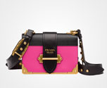 Prada Cahier leather bag FUCHSIA+BLACK Prada
