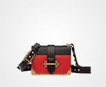 Prada Cahier leather bag FIRE ENGINE RED+BLACK Prada
