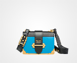 Prada Cahier leather bag BRIGHT BLUE+BLACK Prada