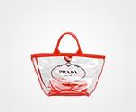 Fabric and Plexiglas handbag RED Prada