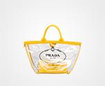 Fabric and Plexiglas handbag SUNNY YELLOW Prada