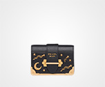 Prada Cahier Leather Shoulder Bag BLACK Prada