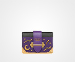 Prada Cahier Leather Shoulder Bag VIOLET+BLACK Prada