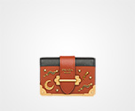 Prada Cahier Leather Shoulder Bag TERRACOTTA+BLACK Prada