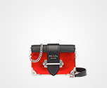 Prada Cahier calf leather bag RED MORDORE\' + BLACK Prada