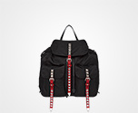 Prada Black Nylon Backpack BLACK+FIRE ENGINE RED Prada
